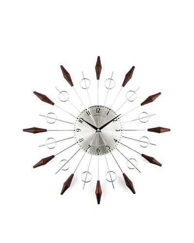 Stilnovo The Noyes Mid-Century Clock, Wood/Silver