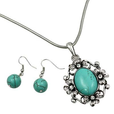 Silver with Turquoise Beaded Stone and Clear Rhinestone Detail Pendant and Earring Necklace Set Fashion Jewelry