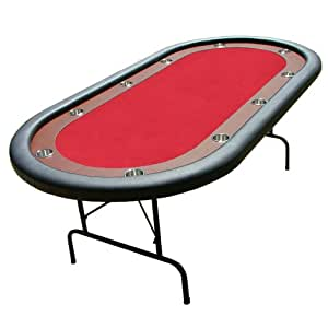 Red Felt Poker Chip Table with Dark Wooden Race Track & 10 Cup Holders by Brybelly