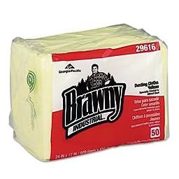 Georgia Pacific 29616 - Brawny Industrial Dusting Cloths Quarterfold, 17 x 24, Yellow, 50/Pack, 4/Carton