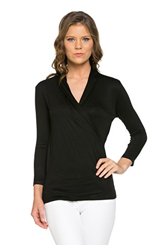 LaClef Women's Crossover Front Wrap 3/4 Sleeve Surplice Drape Casual Blouse Top (Large, Black) (Surplice Top compare prices)