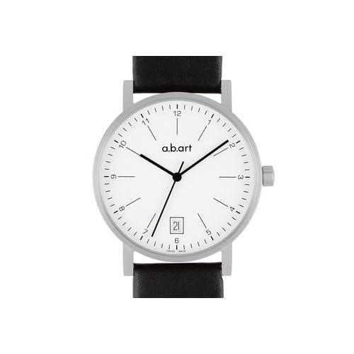 エービーアート a.b.art Men's Quartz Watch with White Dial Analogue Display and Black Leather Strap O103 男性 メンズ 腕時計 【並行輸入品】