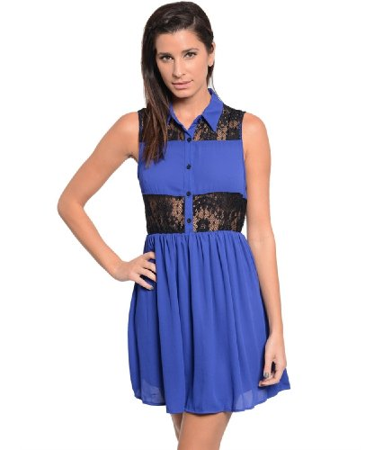 2Luv Women'S Lace Panel Button Detail Dress Royal Blue L(Dh8744)