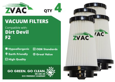 Dirt Devil F2 Hepa Filter - 4 Pack - Fits Dirt Devil Part # 3Sfa11500X, 3-F5A115-00X - Dirt Devil Dynamite, Power Stick Upright Mo84100, Quickvac Mo84600 And Power Reach Mo8245 - Made By Zvac