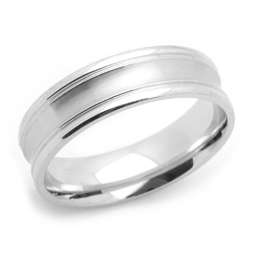 14K White Gold 6MM Wedding Bands Concaved Ring , Size 5