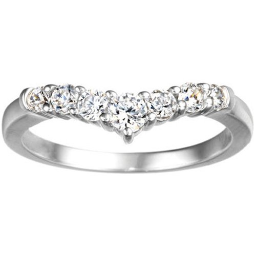 14K White Gold Chevron Classic Contour Wedding Ring Set With Cubic Zirconia (0.5Ct. Twt.)
