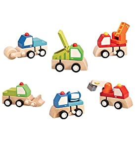 Set of 6 Magic Cabin Wooden Wind-Up Trucks