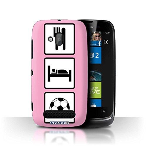 Stuff4 Hülle / Hülle für Nokia Lumia 610 / Fußball/Rosa Muster / Essen/Schlaf Kollektion