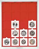 Münzbox mit 20 quadratischen Vertiefungen á 50 x 50 mm (Lindner 2122) Standard (Grauer Schuber, rote Veloureinlage) hergestellt von Lindner Falzlos