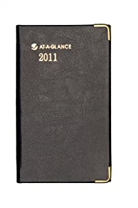 AT-A-GLANCE Fine Diary Weekly/Monthly Diary, 2-7/8 x 4-7/8 Inches, Black, 2011 (70-1111-05)