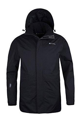 Mountain Warehouse Glacier Extreme Herren lange wasserdichte atmungsaktive Jacke mit Kapuze Anorak Regenmantel Freizeit Sport Wander Walking Camping Schwarz Large -