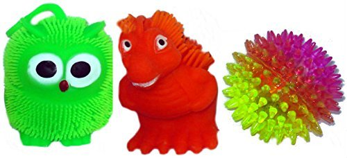 3 Assorted Puffer Flashing Balls - Yo-Yo Flashing Dinosaur - Yo-yo Flashing Owl - 2 Tone Spikey Ball