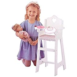 Badger Basket Doll High Chair With Feeding Accessories Fits Most 18