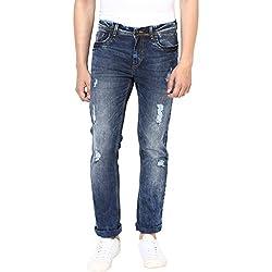 Turtle Men's Navy Blue Low Rise Slim Fit Jeans