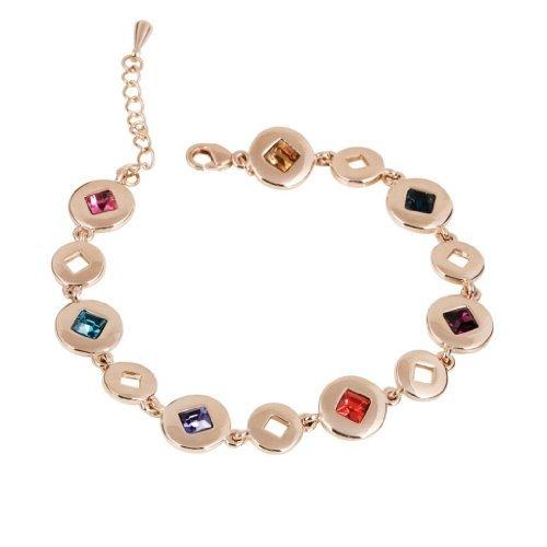 Fashion Plaza Colorful Swarovski Crystal Bracelet 18K Rose gold plated B6