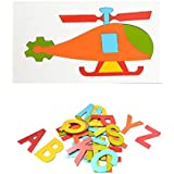 """Aimedu Toy Combo Pack Of Wooden Hard Board Cutout 4""""A-Z Magnetic And Helicopter Puzzle For Kids Learning"""