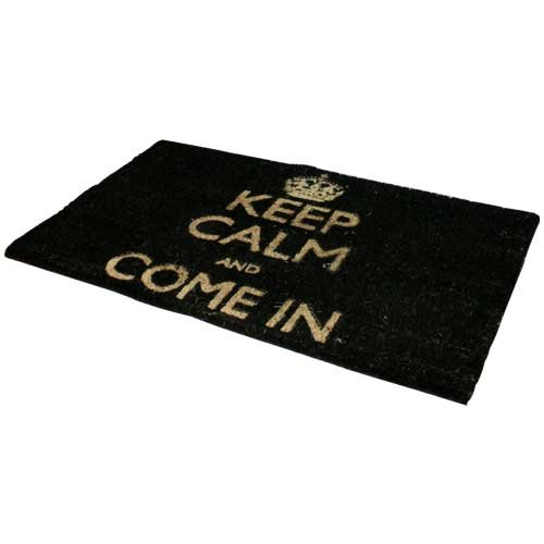 "JVL - Zerbino con scritta ""Keep Calm and Come In"", lato inferiore in PVC, dimensioni 40 x 70 cm, colore nero"