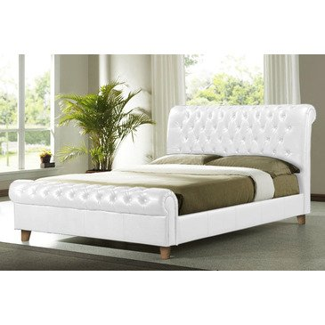 Time Living Richmond-Chesterfield Bed In White - Double | Brass Footrest
