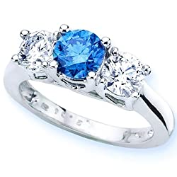 14K White Gold Round 3 Stone Blue Diamond and White Diamond Ring