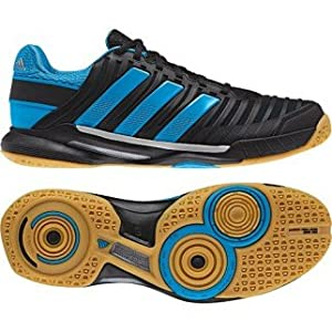 Adidas Adipower Stabil 10.1 Men's Indoor Court Shoe (10, Black/Tech Grey Metallic/Solar Blue)