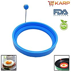 """KARPâ""""¢ Set Of 2 Round Shape Silicone Fried Egg Mold Pancake Rings, Non Stick Bakeware Accessories Kitchen Tools,BPA free, FDA approved, 100% food grade silicone - Sky Blue colur"""