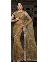 Utsav Fashion Women's Olive Green Shimmer Net Saree with Blouse