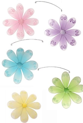 Flower Mobile Pink Purple Yellow Blue Green Swirls