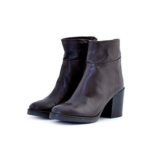 Scarpe stivaletti tronchetti donna Manas numero 35 152M1404SQTMORO in pelle marrone con tacco comodo