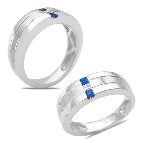 Men'S 1/12Ct Diamond & Sapphire Wedding Band 10K White Gold With Cage Back