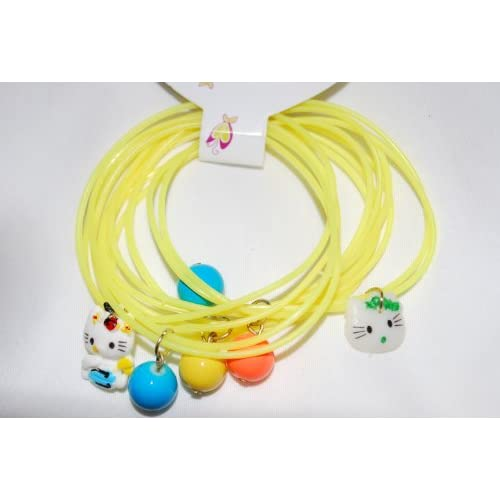 DR   Yellow Childrens Jewelry Multi Set, Hello Kitty Charm Girls Bracelet, Band Style with Earrings