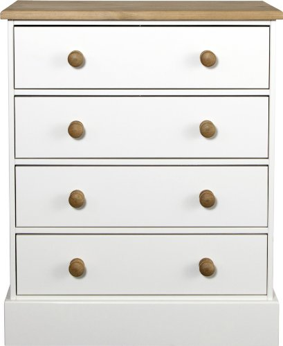 Chest with 4-Drawers and Pine Handles, White