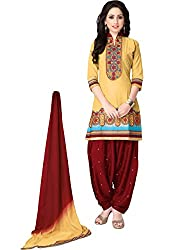 Justkartit Women's Unstitched Mustard Yellow & Maroon Colour Embroidery Patiala Salwar Suit Set / Casual Wear patiala Salwar Kameez / Latest Party & Work Wear Salwar Suit Collection (May - June 2016 Launch)