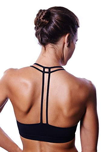 Women's Yoga Bra Light Support Cross Back Wirefree Pad Soft Queenie Ke Size S Color Black Pro