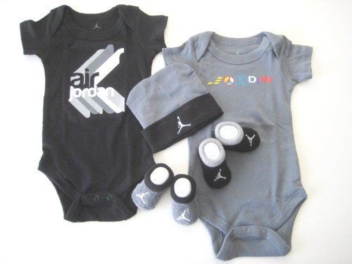 Jordan New Born Baby 2 Bodysuit, 2 pair Booties and Cap; 0-6 Months; With