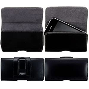 Wayzon Black Premium Organic Leather Horizontal Belt Clip Holster Case Cover Skin Pouch Wallet For Nokia C2-01