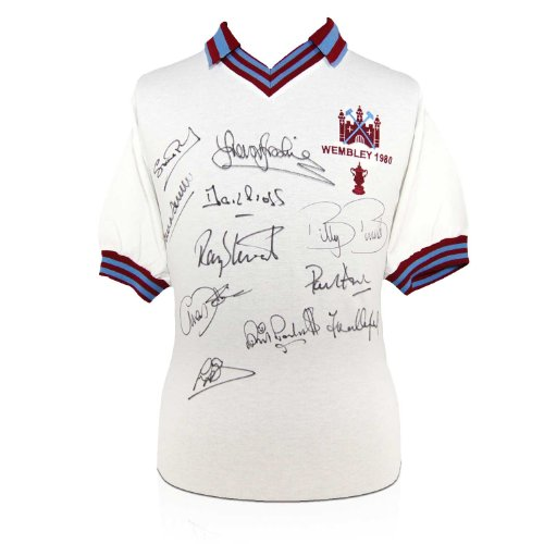 West Ham Soccer Jersey Signed By The 1980 Fa Cup Winning Squad front-671265