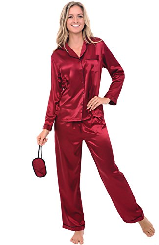 del-rossa-womens-satin-pajamas-long-button-down-pj-set-and-mask-large-burgundy-with-black-piping-a07