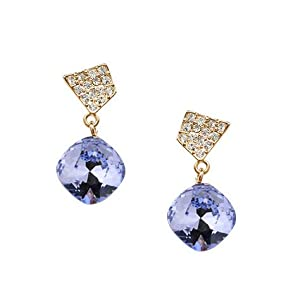 Gorgeous Earrings with Amethyst Swarovski Crystal 18ct Gold Plated quality gift for Women and girls