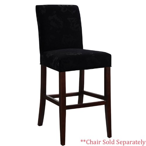 Powell Velvet Tone-on-Tone Floral Black Slip Over for Counter Stool or Bar Stool