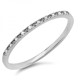 0.08 Carat (ctw) 10k White Gold Round Black & White Diamond Ladies Dainty Anniversary Wedding Band Stackable Ring (Size 7)