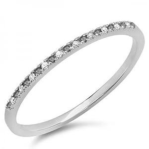 0.08 Carat (ctw) 10k White Gold Round Black & White Diamond Ladies Dainty Anniversary Wedding Band Stackable Ring (Size 7)