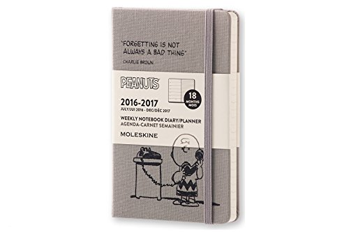 Moleskine 2016-2017 Peanuts Limited Edition Weekly Notebook, 18M, Pocket, Dark Grey, Hard Cover (3.5 x 5.5)