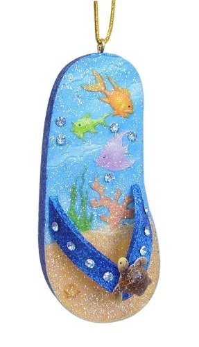 December Diamonds Flip Flop Turtle Ornament, Features Underwater Scene with Tropical Fish and Coral