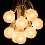 25 Foot Globe Patio String Lights - Set of 25 G40 White Pearl Bulbs with White Cord