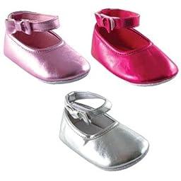 Luvable Friends Girl Ankle Bow Shoe (Infant), Dark Pink, 6-12 Months M US Infant