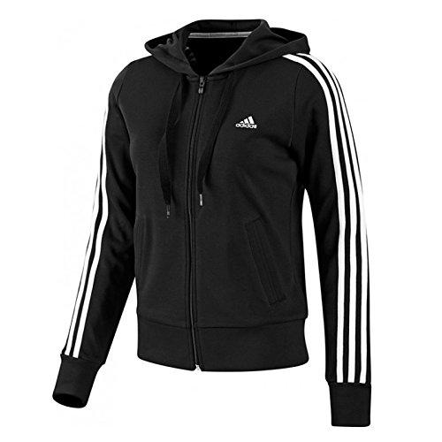 Adidas Essentials - Felpa Da Donna Con Cappuccio E Cerniera, Con Logo A 3 Strisce, Taglia Xs, colore Nero/Bianco