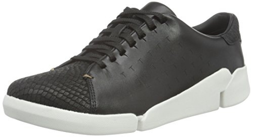 Clarks Tri Abby, Sneakers Donna, Nero (Black Leather), 39.5 EU