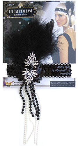 Roaring 20's Deluxe Flapper Feathered Headband, Black/Silver, One Size