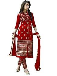 RadadiyaTRD Red color Faux Georgette, Embroiderd Salwar suit Dupatta material