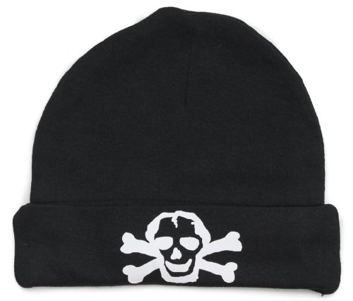 Crazy Baby Clothing White Scribble Skull Baby Beanie One Size In Black